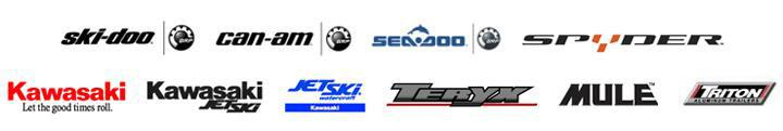 We carry products from Ski-Doo, Can-Am, Sea-Doo, Spyder, Kawasaki, Kawasaki Jet Ski, Teryx, Mule, and Triton Trailer.