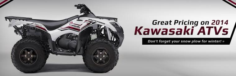 Great Pricing on 2014 Kawasaki ATVs: Click here to view the models.