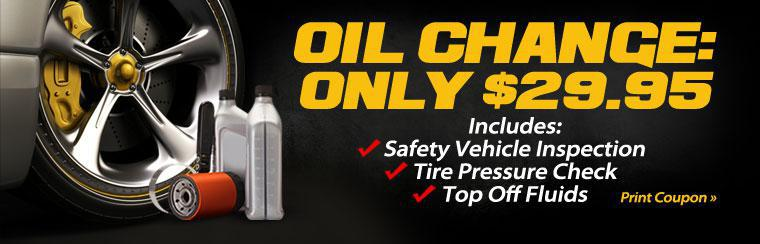 Get an oil change that includes a safety vehicle inspection, tire pressure check and fluid top off for only $29.95! Click here to print your coupon.