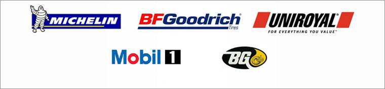 We carry products from Michelin®, BFGoodrich®, Uniroyal®, Mobil1, and BG.