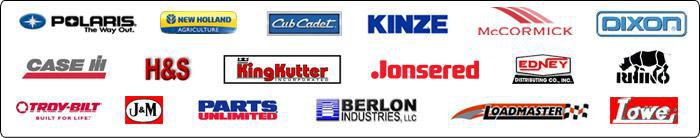 We proudly carry products from Polaris, New Holland, Cub Cadet, Kinze, McCormick, Dixon, Case, H&S, King Kutter, Jonsered, Edney, Rhino, Troy-Bilt, J&M, Parts Unlimited, Berlon Industries LLC, LoadMaster, and Lowe.