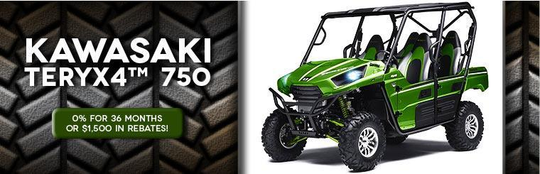 Get 0% for 36 months or $1,500 in rebates on the Kawasaki Teryx4™ 750! Click here to view our selection.