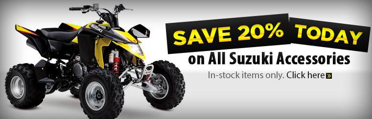 Save 20% today on all in-stock Suzuki accessories!
