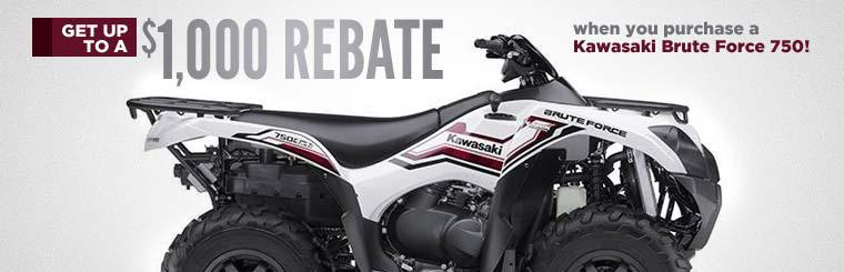 Get up to a $1,000 rebate when you purchase a Kawasaki Brute Force 750!
