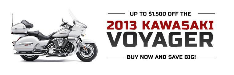 Get up to $1,500 off the 2013 Kawasaki Voyager! Buy now and save big!