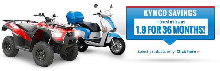 KYMCO Savings: Get interest as low as 1.9 for 36 months on select products. Click here for details.