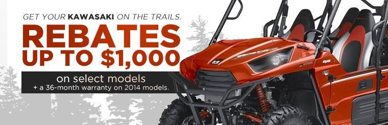 Get rebates up to $1,000 on select Kawasaki Teryx models plus a 36-month warranty on 2014 models.