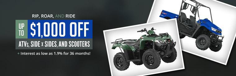 Get up to $1,000 off KYMCO ATVs, side x sides, and scooters, plus interest as low as 1.9% for 36 months!