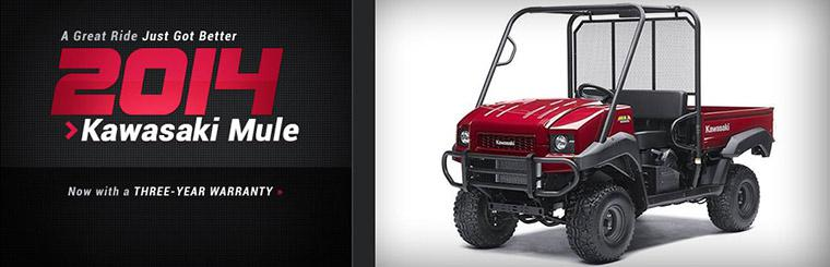 The 2014 Kawasaki Mule side x sides now have a three-year warranty! Click here to view the models.