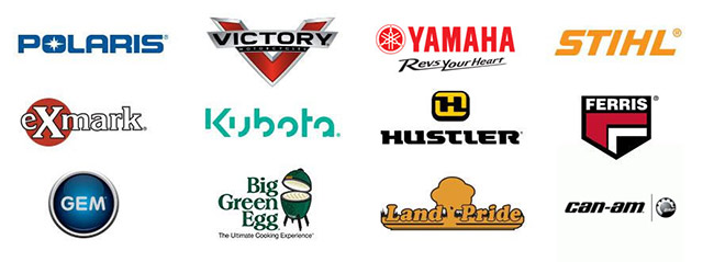 We carry products from Polaris, Victory, Yamaha, STIHL, Exmark, Kubota, Hustler, Ferris, GEM, Big Green Egg, Land Pride, and Can-Am.