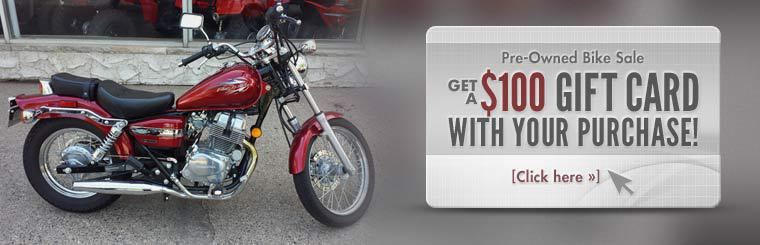 Pre-Owned Bike Sale: Get a $100 gift card with your purchase! Click here to browse our inventory.