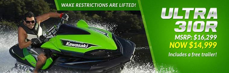 Get the 2014 Kawasaki Jet Ski Ultra 310R for just $14,999! This offer includes a free trailer!