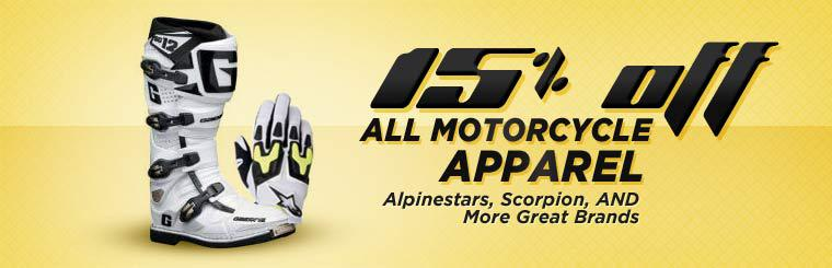 Get 15% off all motorcycle apparel!