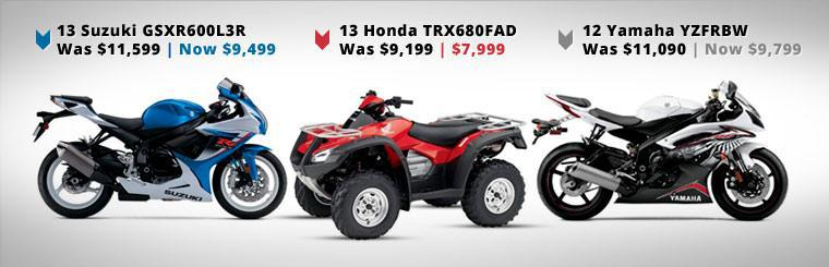 Click here for big savings on in stock Honda, Suzuki, and Yamaha units.