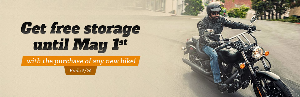 Get free storage until May 1st with the purchase of any new bike!