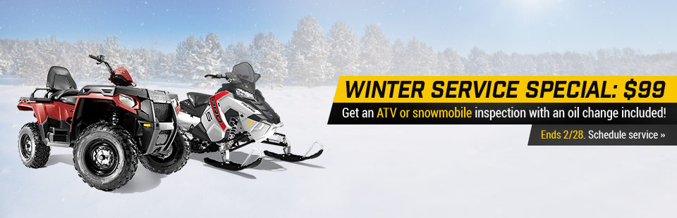 $99 Winter Service Special: Get an ATV or snowmobile inspection with an oil change included!