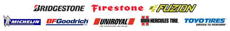 We carry Bridgestone, Firestone, Fuzion, Michelin®, BFGoodrich®, Uniroyal®, Hercules, and Toyo tires.