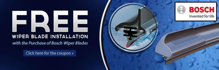 Free Wiper Blade Installation with Bosch Wiper Blade Purchase: Click here for the coupon.