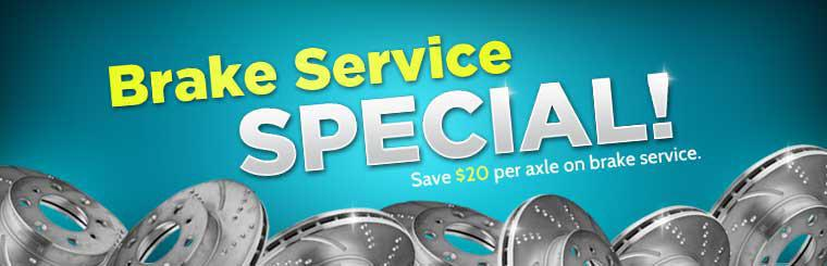Save $20 per axle on brake service. Click here for a coupon.