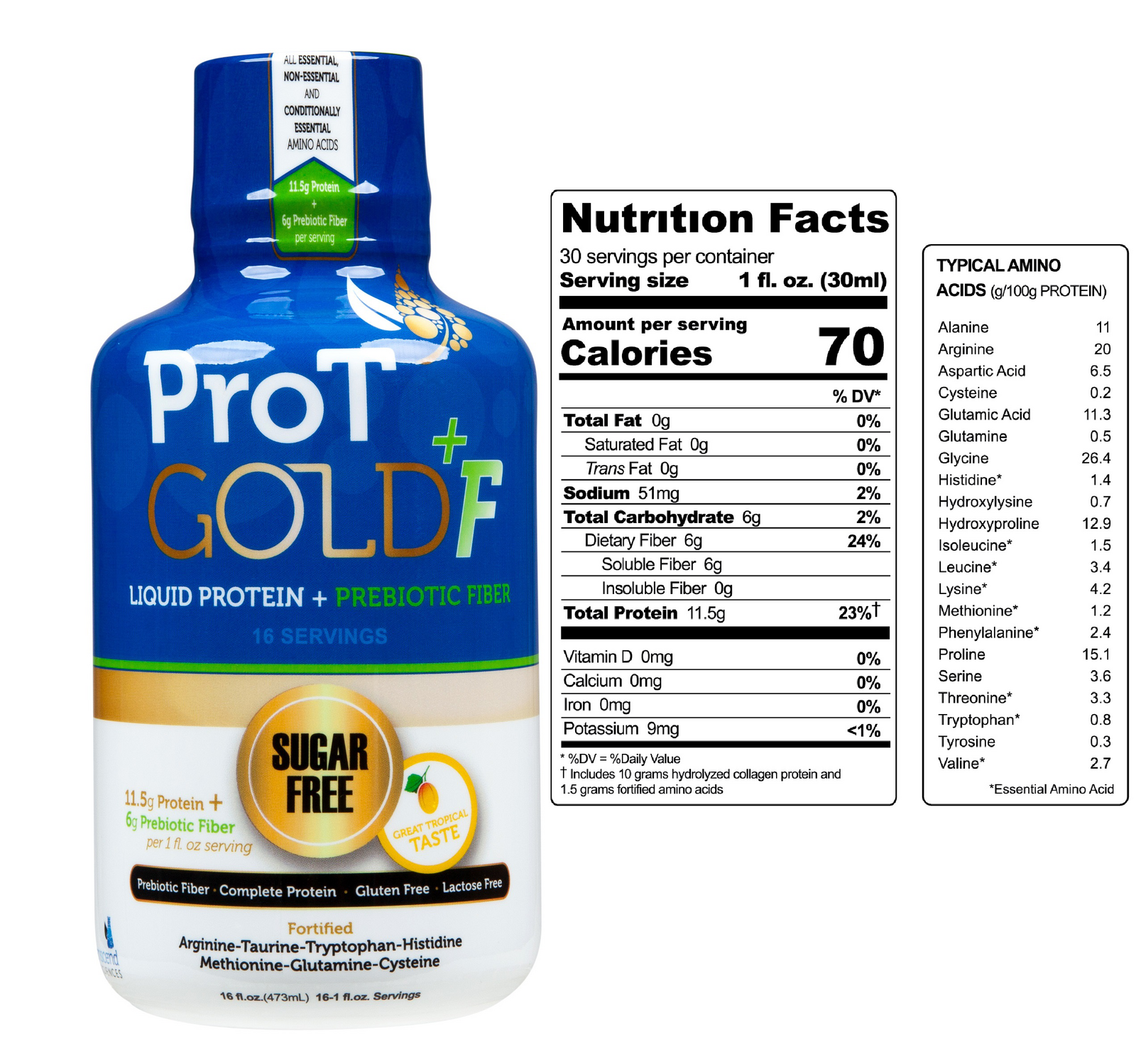 ProT Gold + Fiber Liquid Protein 16oz
