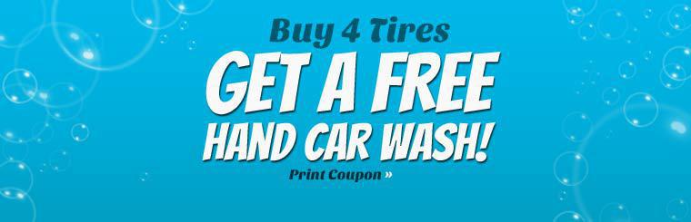 Buy four tires and receive a free hand car wash. Click here for the coupon.