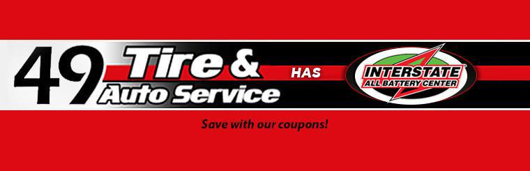 49 Tire has Interstate Batteries! Save with our coupons!