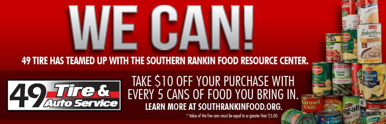 Take $10 off your purchase with every 5 cans of food you bring in.
