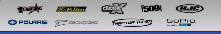 We carry products from FXR, Klim, Castle X, 509, HJC, Pure Polaris, Camoplast, Tractor Tunes, and GoPro.