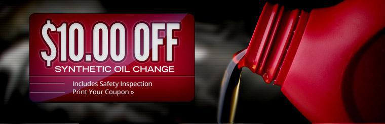 Get $10.00 off a synthetic oil change! This offer includes a safety inspection. Click here to print the coupon.
