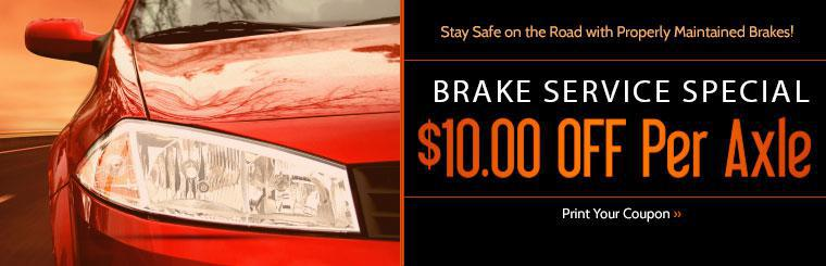 Save On Ten Dollars Per Axle On Brake Service