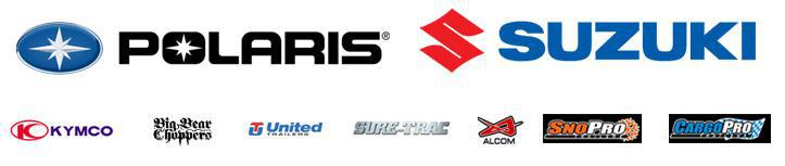We carry Polaris, Suzuki, Kymco, Big Bear Choppers, United Trailers, Sure-Trac, Alcom, SnoPro, and CargoPro.