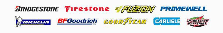 We carry products from Bridgestone, Firestone, Fuzion, Primewell, Michelin®, BFGoodrich®, Goodyear, Carlisle, and Interstate Batteries.