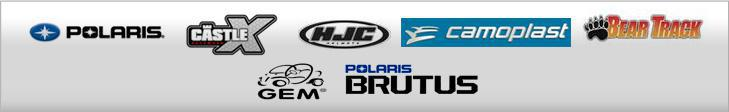 We proudly carry Polaris, Castle, HJC, Camoplast, Bear Track, GEM, and Polaris Brutus.