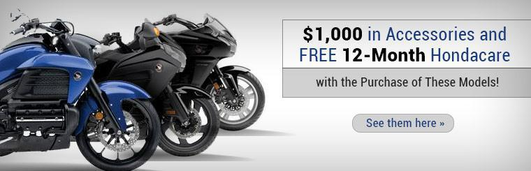 Receive $1,000 in accessories plus free 12-month Hondacare warranty on these models! Click here to check them out.