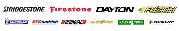 We carry tires from Bridgestone, Firestone, Dayton, Fuzion, Michelin®, BFGoodrich®, Uniroyal®, Goodyear, Kelly, and Dunlop.