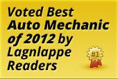 Voted Best Auto Mechanic of 2012 by Lagnlappe Readers