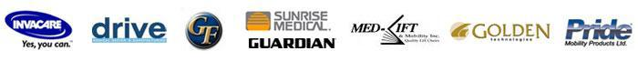 We carry products from Invacare, Drive, Graham Field, Sunrise, Guardian, Med-Lift, Golden Technologies, and Pride.