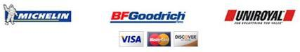 We proudly carry products from Michelin®, BFGoodrich®, and Uniroyal®. We are associated with the Better Business Bureau. We accept Visa, Mastercard, and Discover.