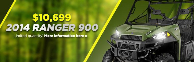 Get the 2014 Polaris Ranger 900 for just $10,699! Click here for details.
