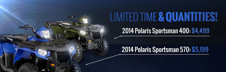 2014 Polaris Sportsman 400 & 500 Sale: Click here to view the models.