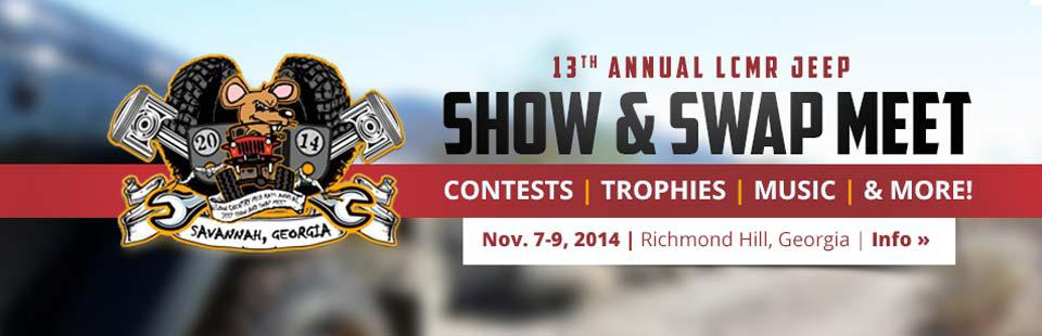 Join us November 7th through 9th for the 13th Annual LCMR Jeep Show & Swap Meet. Click here for information.