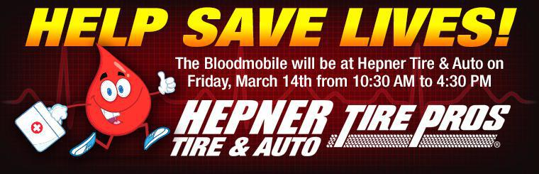 Hepner Tire Pros Blood Drive March 14th