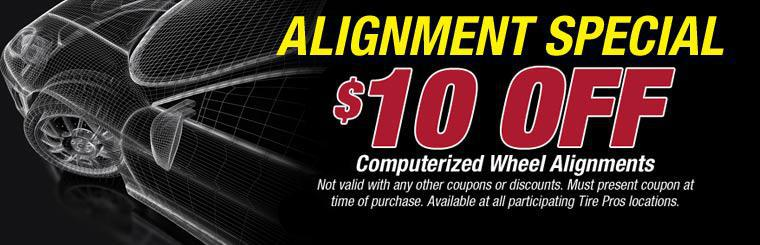 Receive $10 off a computerized wheel alignment! Click here for details.