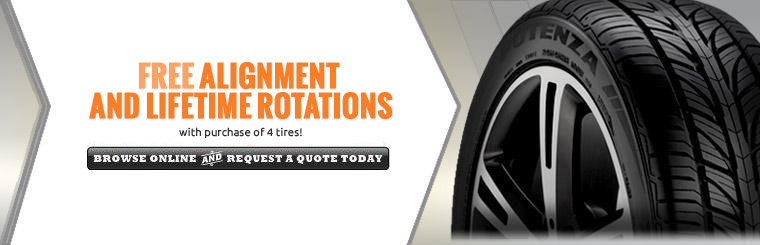FREE Alignment and Lifetime Rotations with purchase of 4 tires!