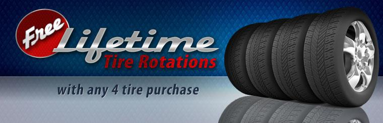 Get free lifetime tire rotations with any set of four new tires! Click here for the coupon.
