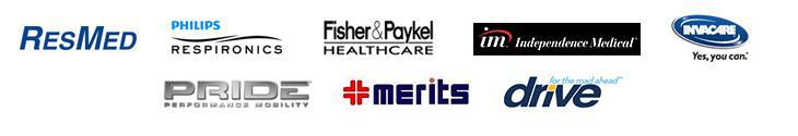 We carry products from ResMed, Respironics, Fisher & Paykel, Independence Medical, Invacare, Pride, Merits, and Drive.