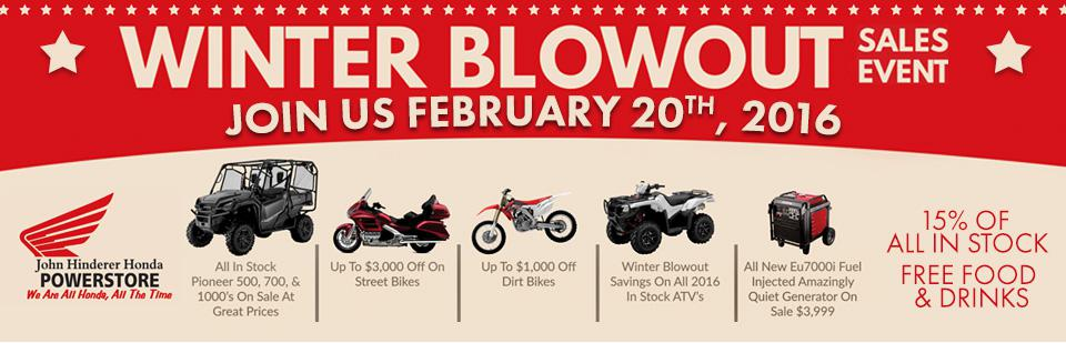 winter blowout sales event, free food and drinks