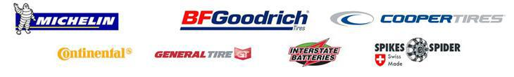 We carry products from Michelin®, BFGoodrich®, Cooper, Continental, General, Interstate Batteries, and Spikes-Spider.