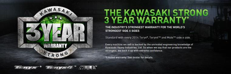 Kawasaki Side x Sides 3 year warranty promotion