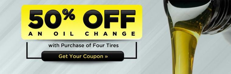 Get 50% off an oil change with the purchase of four tires. Click here for the coupon.